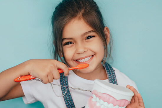 A young girl with baby teeth mimics brushing her teeth while holding a model of teeth
